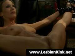 Mistress ties up her slave and tortures her pussy for punishment