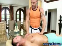 Gay masseur checks out straight guys body