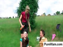 Three hot lesbians play outside and get all wet and dirty