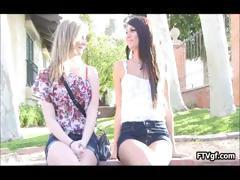 Two beautiful teen lesbian babes fisting part6