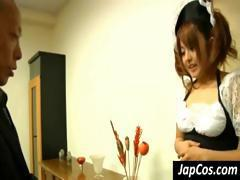 Dirty Japanese housemaid is made to remove her uniform and wear a swimsuit