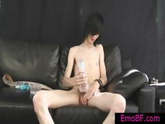 Gay emo twink jerking his amazing cock part1