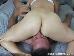 Horny mistress demands for ass licking while she sucks cock