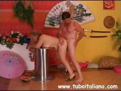 Role playing kinky Italian couple do each other Japanese style