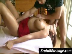 Warmed up with some intense erotic massage a brunette gets boinked by her masseur