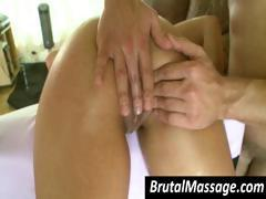 Masseur takes it up a notch and uses a vibe and his dick to get her relaxed