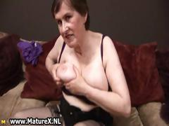 Sixty year old lady showing of her big part2