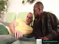 Dude sucking big fat black cock part1