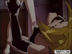 Anime girl is blowing shemale and gets drilled from behind