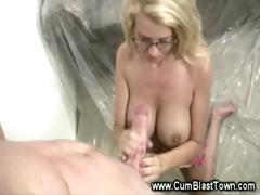 Platic surrounding to catch all his cum from her handjob