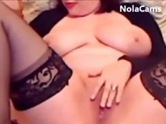 Amateur brunette with big tits is rubbing and toying her pussy on cam