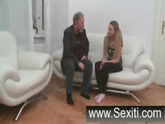 Fledgling cutie skinny skank gets banged by two guys on a white sofa