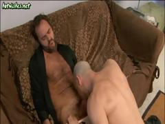 Bearded hunk and a bald hottie do some male to male cock sucking