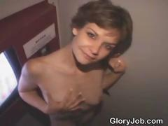 Short Haired Brunette Dirtbag Sucks Dick At Glory Hole