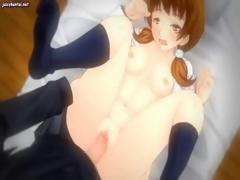 Busty brunette anime is getting her pussy pounded by large cock