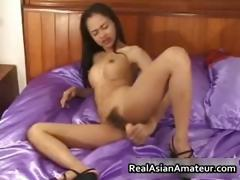 Petite asian babe strips and dildo part6