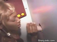 Black Girl Takes Facial From White Guy At Glory Hole
