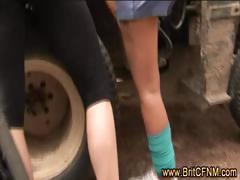 British babes jerk off CFNM guy at work
