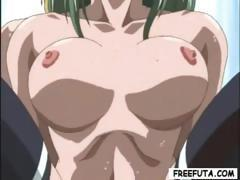 Green-haired young hentai slut gets fucked by a blonde she-male