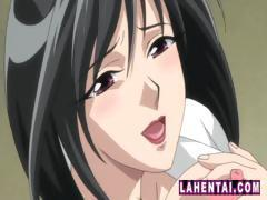 Young hentai chick masturbates using her fingers on public toilet