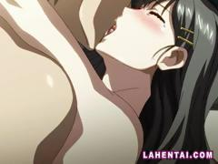 Yummy hentai brunette wearing black stockings gets fucked by her boyfriend