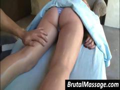 Cute blonde gets oiled up and has a nice massage from her masseuse