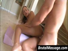 Cute blonde goes for a massage and gets a hard cock to bang