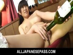 Hello Mikity works a wine bottle in and out of her pussy