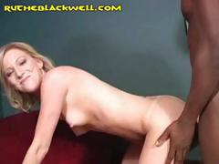 Two blondes share a big black cock in this interracial threesome