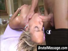 Young blonde skinny slutty whore gets it on with her hunky masseur