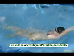 Rio shinano amateure asian chick in the pool swiming