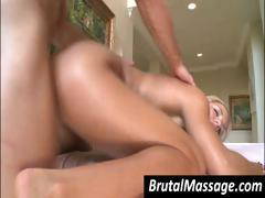 Blonde goes for a massage and gets his hard cock to bang