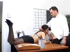 Brunette secretary gives head and gets drilled by her boss