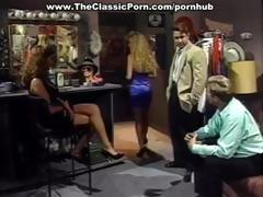 Classic action in the dressing room with a big tittied brunette