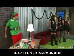 Three beautiful bitches gets their holes fucked by a cosplay guy in an elf costume