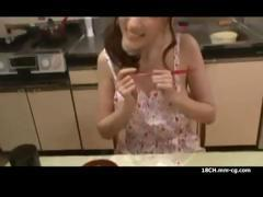Beautiful skinny Japanese housewife gets fucked on the dining table and in the bedroom