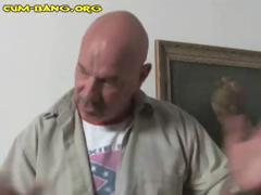 Pissed off ebony girl gets her revenge against an old bald guy