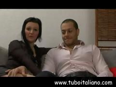 Amateur Italian brunette with big tits shags and blows on casting couch
