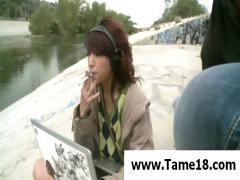 Naughty slave girl forgot to get permission before smoking a cig and she will get punished