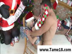 Santa's blonde petite helper gets caught by a horny guy and he fucks her good