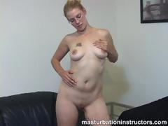 Naked jerk off teacher in eye glasses spreads her legs