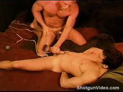CBT Hot young muscle Carlos Morales getting his balls whacked with a mallet until a no hands cum.
