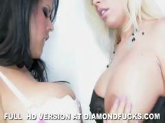 Lesbian bitches Diamond Kitty and Britney Amber play with toys