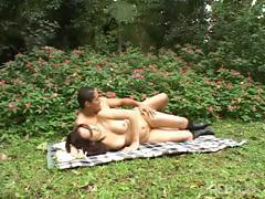 Sweet red-haired bimbo gets fucked by the stable guy outdoors