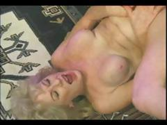 Classic porn with a blonde granny getting nailed in her shaved old snatch