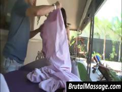 Cute brunette gets a massage and then they go inside for more