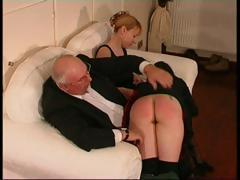 She gets an ache in her tummy and has an accident, she gets spanked for it