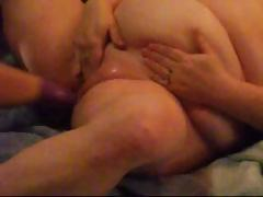 Obese amateur Megan gets his fist shoved in her big fat pussy