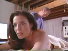 Sexy brunette celebrity Mimi Rogers gets naked for a full body massage