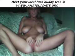 Blonde babe with big boobs masturbates with a toy and her fingers